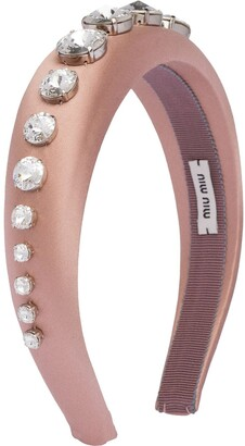 Miu Miu Crystal Satin Headband