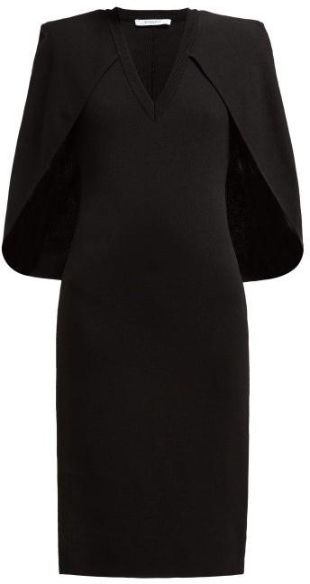 Givenchy Cape Stretch-knit Midi Dress - Womens - Black