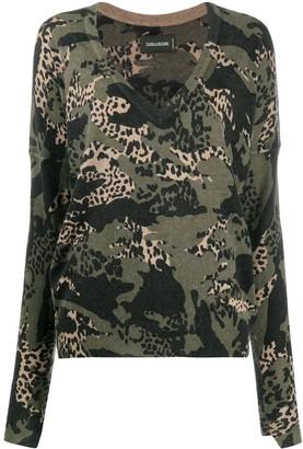 Zadig & Voltaire leopard-print V-neck pullover