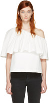 Edit White Single-shoulder Ruffle Blouse