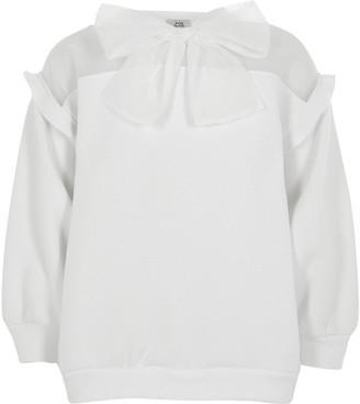 River Island Girls white organza bow sweatshirt