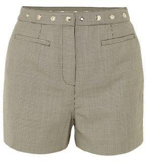ALEXACHUNG Embellished Houndstooth Wool-blend Shorts
