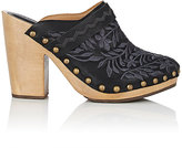 Ulla Johnson Women's Embroidered Leather Clogs-BLACK