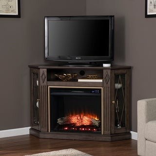Copper Grove Aledo Transitional Brown Wood Electric Fireplace
