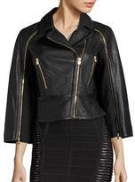 Herve Leger 2-In-1 Bennet Leather Moto Jacket & Cape