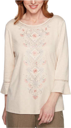 Alfred Dunner Petite Boardroom Embroidered Bell-Sleeve Top