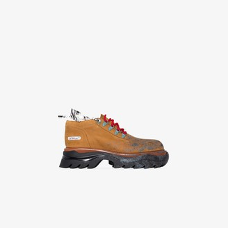 Off-White Brown paint splatter chunky leather sneakers