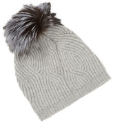 Saks Fifth Avenue Women's Twisted Ribbed & Fox Pom Hat