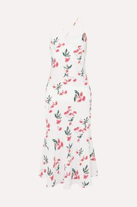 The Line By K - Robi Tie-detailed Floral-print Crepe De Chine Dress - Cream