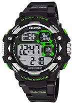 Calypso Men's Digital Watch with LCD Dial Digital Display and Black Plastic Strap K5674/5
