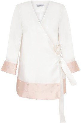 Kith&Kin Cream Pink Envelope Jacket With Pearls