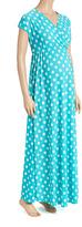 Glam Mint & White Polka Dot Maternity Maxi Dress