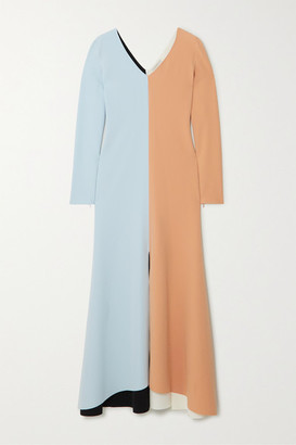 A.W.A.K.E. Mode Color-block Crepe Maxi Dress