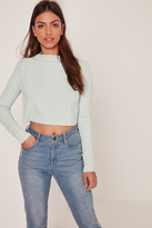 Missguided Crepe High Neck Jean Grazer Top Green