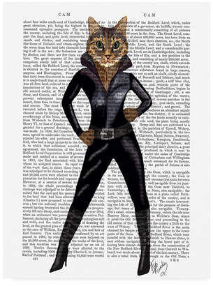 "Fab Funky Cat Woman Leather Canvas Art - 19.5"" x 26"""