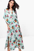 boohoo Christa Tropical Maxi Beach Kimono