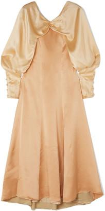 REJINA PYO Milena Color-block Draped Hammered Silk-satin Midi Dress
