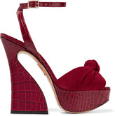 Charlotte Olympia Vreeland knotted suede and croc-effect leather platform sandals
