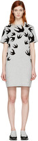 McQ by Alexander McQueen Grey Swallows T-Shirt Dress