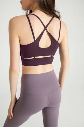 J.ING Purple Eggplant Cross Back Bra Top