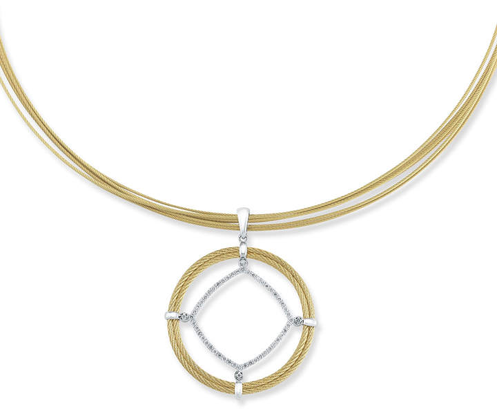 Alor Spring Coil Cable & Diamond Pendant Necklace, Yellow, 0.50tcw