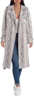 AVEC LES FILLES Double-Breasted Snake Print Trench Coat