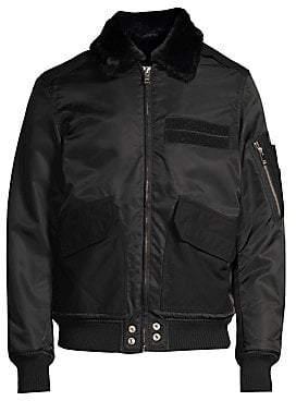Diesel Men's Slotkin Faux Fur Collar Bomber Jacket
