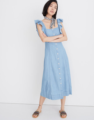 Madewell Petite Denim Princess-Seamed Maxi Dress