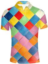 Instantarts colorful Checked Design Polo Top Shirt Pique Short Sleeve For Mens Big and Tall XXL