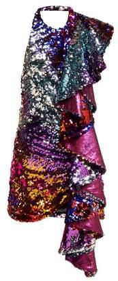Halpern Ruffle Trim Sequinned Mini Dress - Womens - Multi