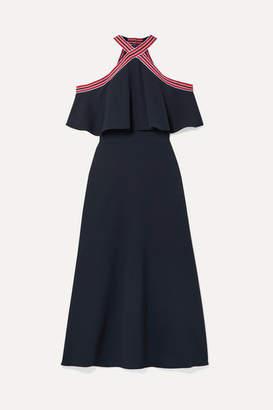 Lela Rose Cold-shoulder Grosgrain-trimmed Ruffled Crepe Midi Dress - Navy