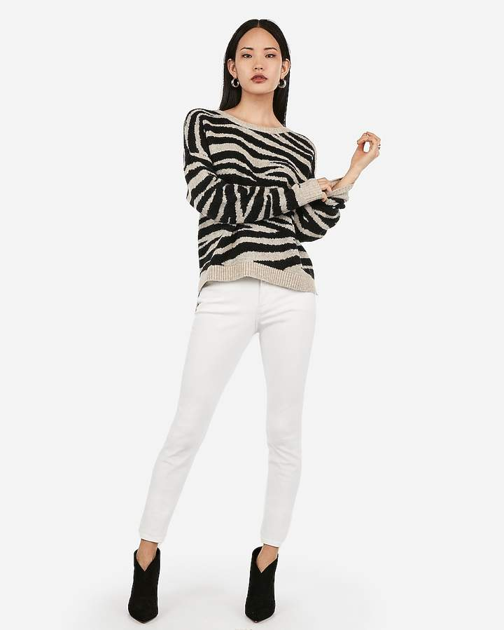 Express Zebra Step Hem Tunic Sweater