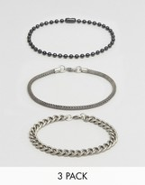 Asos Bracelet Pack With Mixed Chains