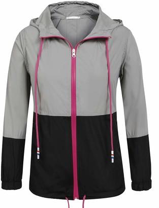 Memoryee Women's Plus Size Rain Jacket Lightweight Hooded Rain Coat Windbreaker Gray Black