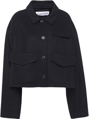 Carven Cropped Brushed-felt Wool And Cashmere-blend Coat