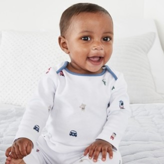 The White Company Organic Cotton London Bear Pyjamas , White, 12-18mths
