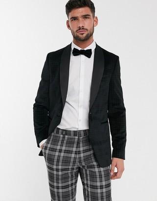 Burton Menswear velvet blazer in black