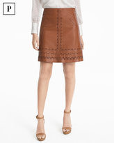 White House Black Market Petite Laser-Cut Leather A-line Skirt
