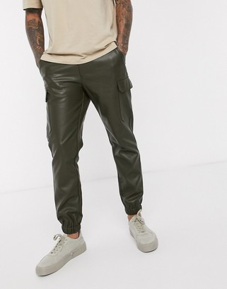 Asos DESIGN skinny faux leather cargo cuffed pants in green