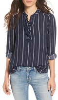 BP Women's Stripe Ruffle Popover Shirt