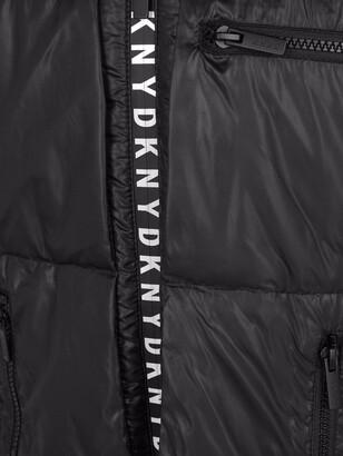 DKNY TEEN padded logo-zip coat