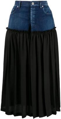 Y's Pleated Panel Denim Skirt