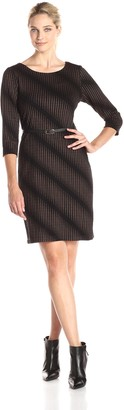 Connected Apparel Women's 3/4 Sleeve Printed Dress with Belt