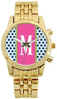 The Well Appointed House Personalized Gold Plated Stainless Steel Boyfriend Watch in Blue Polka Polka Pattern