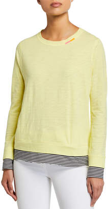 LISA TODD On The Run Long-Sleeve Striped-Trim Tee