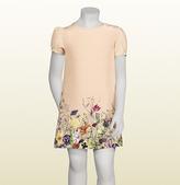 Gucci Vintage Rose Flora Infinity Degradé Print Silk Short Sleeve Dress