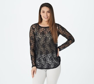 Logo by Lori Goldstein LOGO Layers by Lori Goldstein Long-Sleeve Sheer Lace Top