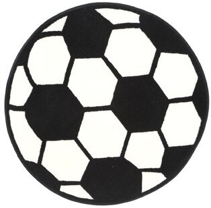 "Zoomie Kids Round Pierson Geometric Black/White Area Rug Rug Size: Round 3'3"""