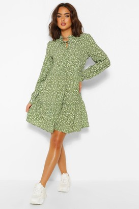boohoo Ditsy Print Tie Neck Smock Dress