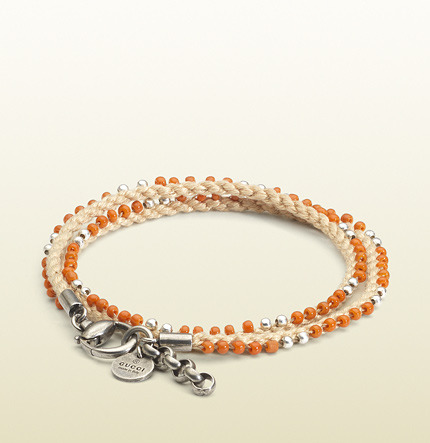 Gucci Bracelet In Sterling Silver And Cord With Orange Colored Glass Beads